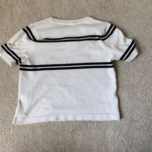 White Crop Top with Black Stripe
